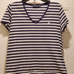 Ralph Lauren Navy Blue and White Stripe Polo